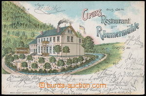 151996 - 1898 KRASLICE - Restaurant zur Raumermühle, vzácná litografi