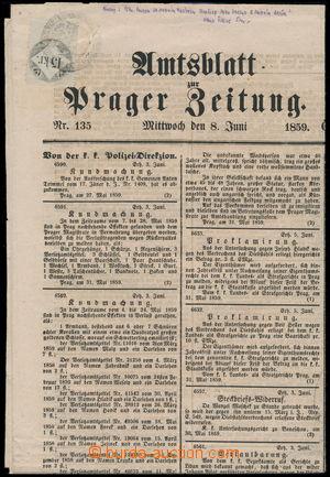 152019 - 1859 RAKOUSKO-UHERSKO Oznamovatel Pražských novin z 8. 6. 18