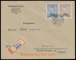 152341 - 1939 firemní R-dopis zaslaný do Švýcarska, vyfr. čs. zn. Pof