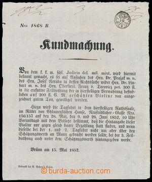 152360 - 1852 RAKOUSKO-UHERSKO  tištěné oznámení s vtištěným oznamova