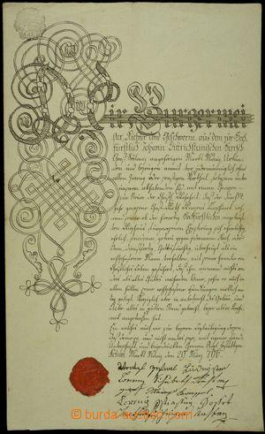152371 - 1796 MISTROVSKÝ LIST/ MĚNÍN ručně psaný mistrovský list s ná