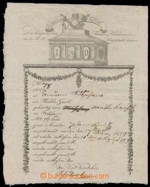 152373 - 1805-29 MISTROVSKÝ LIST/ BRNO tištěný mistrovský list truhlá