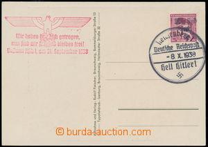 152487 - 1938 ASCH  pohlednice se zn. Masaryk 1Kč, Mi.24 s přetiskem
