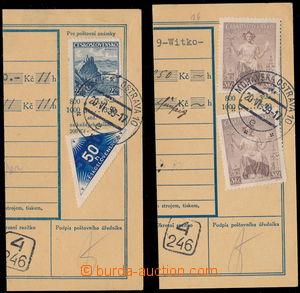 152552 - 1939 2ks ústřižků penežní průvodky s předběžnými frankaturam