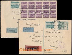 152559 - 1939 sestava 2ks Let-dopisů zaslaných do Londýna, 1x  vyfr.