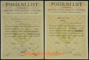 152759 - 1937-47 ČSR / Družstevní práce Praha, 2ks podílových listů h