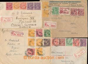 152784 - 1922-1928 sestava 4ks R-dopisů do Prahy, pěkné frankatury em