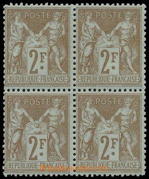 152786 - 1900 Mi.85, Alegorie 2Fr hnědá, 4-blok na namodralém papíru,