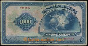 152852 - 1932 Ba.26, 1000Kč 1932, série A 0483692; kvalita F/3