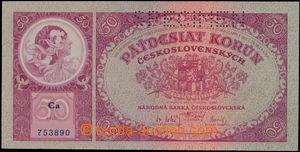 152853 - 1929 Ba.24, 50Kč 1929, série Ca 753890, SPECIMEN; kvalita UN