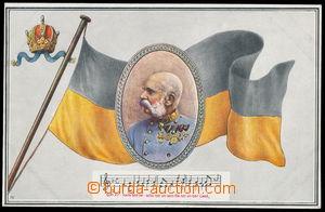 154238 - 1910 FRANZ JOSEF I. - kolorovaná pohlednice s císařem a s čá