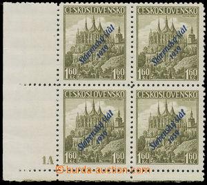 156521 - 1939 Alb.15, 1,60Kč olivová, levý dolní rohový 4-blok, velký