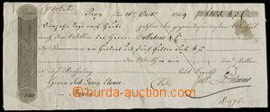 156577 - 1809 SMĚNKY/ ČESKÉ KRÁLOVSTVÍ  předtištěná směnka vydaná v P