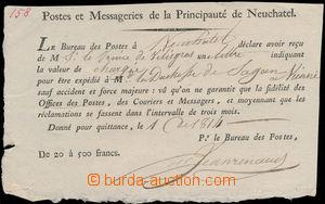 156609 - 1814 potvrzení poštovního úřadu vévodství Neuchatel o obdrže