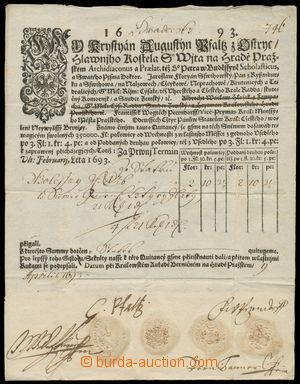 156992 - 1693 BERNÍ PŘIZNÁNÍ  velice zajímavé předtištěné berní přizn