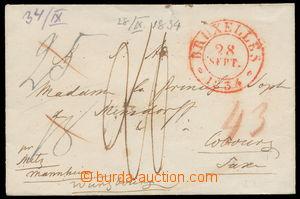 157473 - 1834 předznámkový dopis s červeným DR BRUXELLES na princeznu