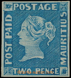 157549 - 1848 SG.8, MODRÝ MAURITIUS POST PAID, early impression, vydá
