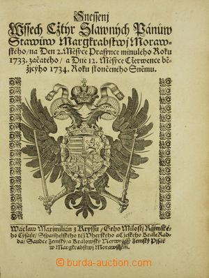 157840 - 1734 MARKRABSTVÍ MORAVSKÉ  tištěné berní sněmovní snešení (d