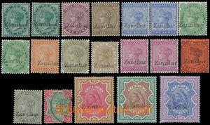158529 - 1895-1896 SG.3-21, Královna Viktorie (India) s přetisky Zanz