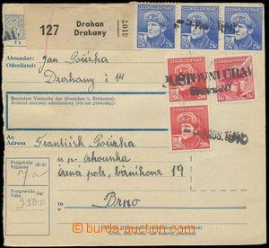 159053 - 1945 větší část balíkové průvodky, vyfr. zn. londýn