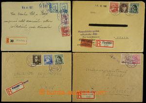 159057 - 1945 sestava 4ks dopisů, 1x R+Ex, 3x R-dopis, vyfr. zn. Lon