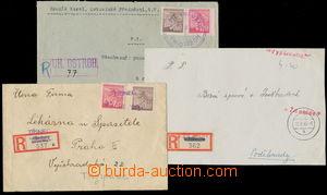 159060 - 1945 sestava 3ks R-dopisů s provizorními raz. a R-nálepkami,