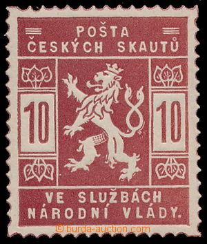 1918 trial print 10h, Pof SK1, in/at red-brown color