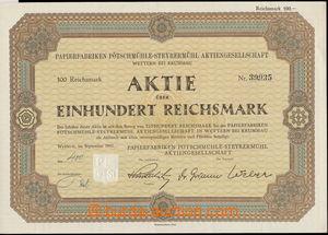 159893 - 1941 SUDETY  Papírny Větřní u Českého Krumlova, akcie v hodn