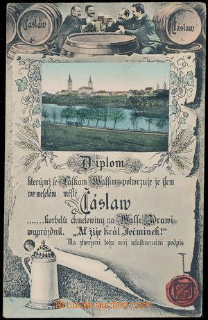 159895 - 1905 ČÁSLAV - barevná koláž s pivním motivem, pohled na měst
