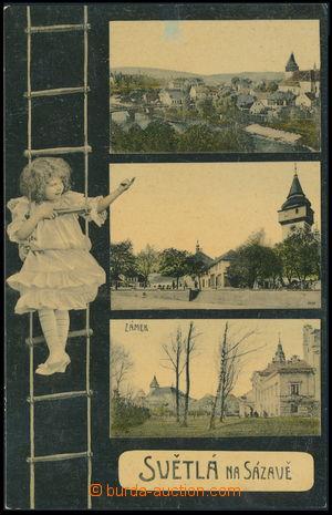 159898 - 1910 SVĚTLÁ NAD SÁZAVOU - 3-okénková koláž, dítě na žebříku,