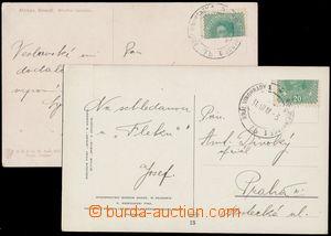 159985 - 1918 2 pohlednice vyfr. půlenou zn. 20h Karel světle zelen