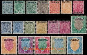 160863 - 1937 SG.1-18, přetisk BURMA na indických zn. Jiří V. 3Ps-25R