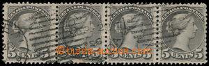 161006 - 1888 Sc.42, Královna Viktorie 5c šedá, 4-páska s archovým ob