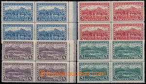 161024 - 1926 Pof.225-228, Praha, Tatry 2Kč - 5Kč, ve 4-blocích, 2