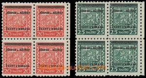 161158 - 1939 Pof.3, 4, Znak 20h červená + 25h zelená, krajové 4-blok