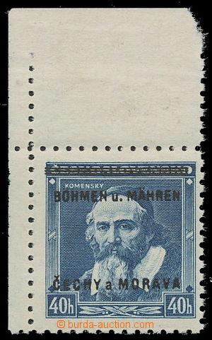 161170 - 1939 Pof.6, Komenský 40h, levý horní rohový kus; kat. 1.200K