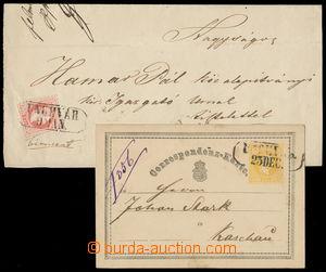 161230 - 1870 UNGVÁR rakouská dopisnice 2Kr Žluťásek a přední strana