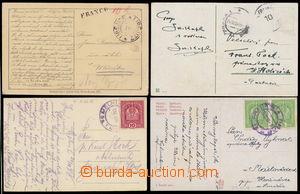 161493 - 1918 sestava 4ks dopisnic, 2x souběžná frankatura: Koruna