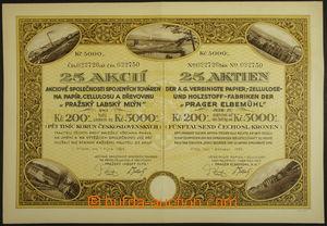 161605 - 1924 ČESKOSLOVENSKO  25 akcií společnosti spojených továren