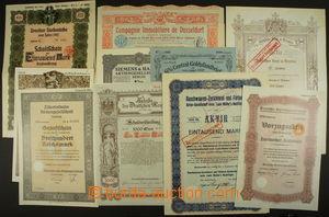 161607 - 1870-1939 AKCIE/ NĚMECKO  sestava 12ks různých akcií a oblig