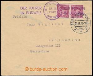 161745 - 1939 dopis zaslaný z Českých Buďejovic do Sudet, vyfr. 2-pás