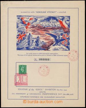 161813 - 1943 nálepní list k vydání aršíku Sokolské výstav v Londýně,