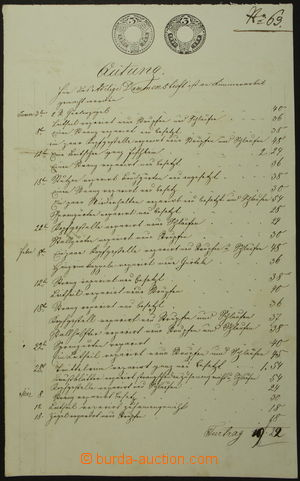 162077 - 1852 RAKOUSKO - UHERSKO  kvitance se vzácným souběhem 2 tišt