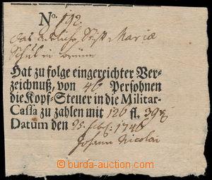 162078 - 1746 MILITARIA/ BOLETY  předtištěná boleta o zaplacení popla