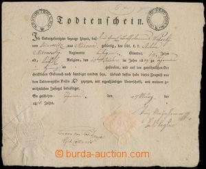 162079 - 1810 NAPOLEONSKÉ VÁLKY  tištěný úmrtní list s tištěným kolke