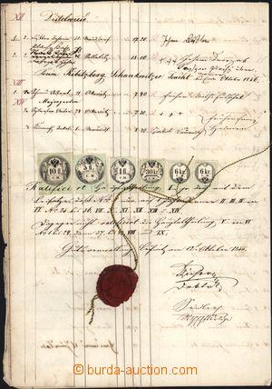 162091 - 1855 HABSBURSKÁ MONARCHIE  listina s výjimečnou 5-barevnou v