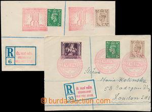 162112 - 1942-43 sestava 2ks R-dopisů, 1x do Londýna, vyfr. zn. Legio