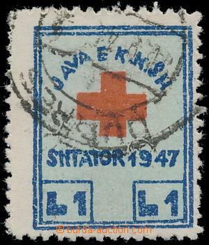 163016 - 1947 Mi.1, Příplatková známka pro Červený kříž 1L modrá/ čer