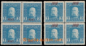 163537 - 1918 Mi.148K, 148D, FJI 2h modrá, 2x 4-blok, s dvojitým a s