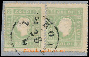 163551 - 1858 Mi.8, 3Sld zelená, 2ks na malém výstřižku s DR VERONA;